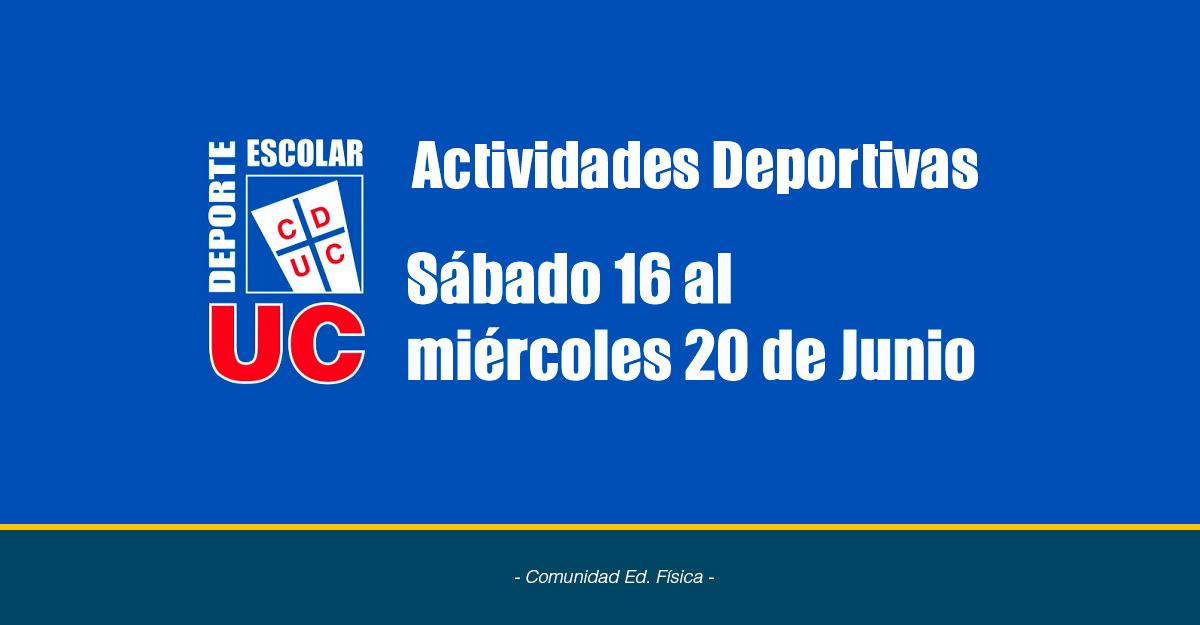 Actividades Deportivas Sábado 16 Al 20 De Junio
