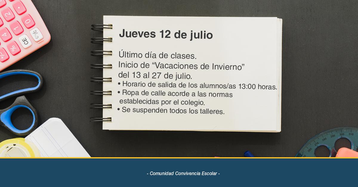 """Último Día De Clases, Inicio De """"Vacaciones De Invierno"""""""