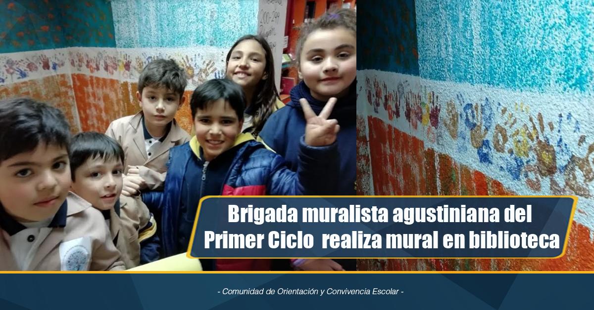 Brigada Muralista Agustiniana Del Primer Ciclo Realiza Mural En Biblioteca