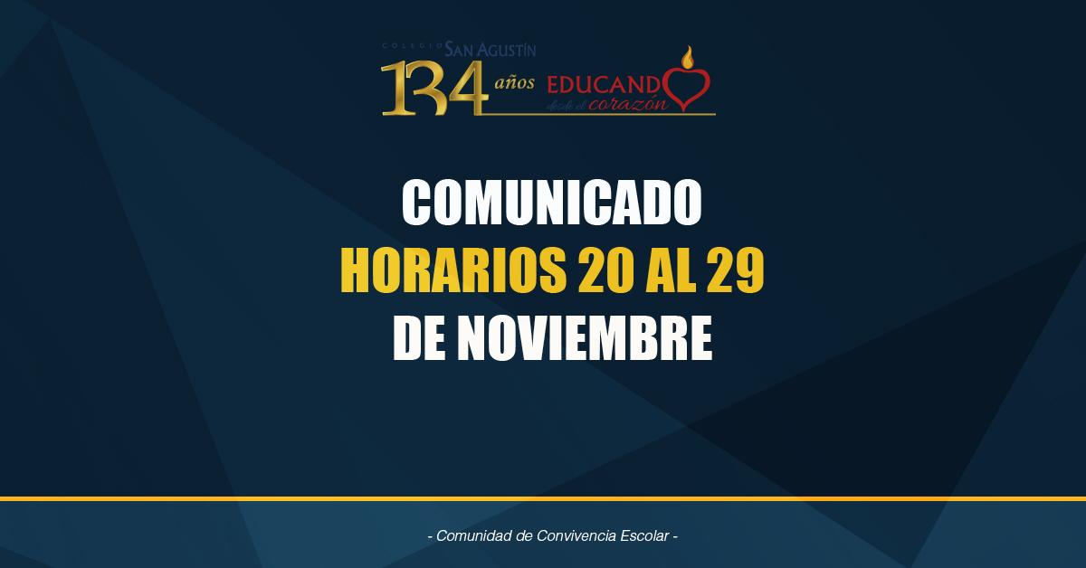 Horarios 20 Al 29 De Noviembre