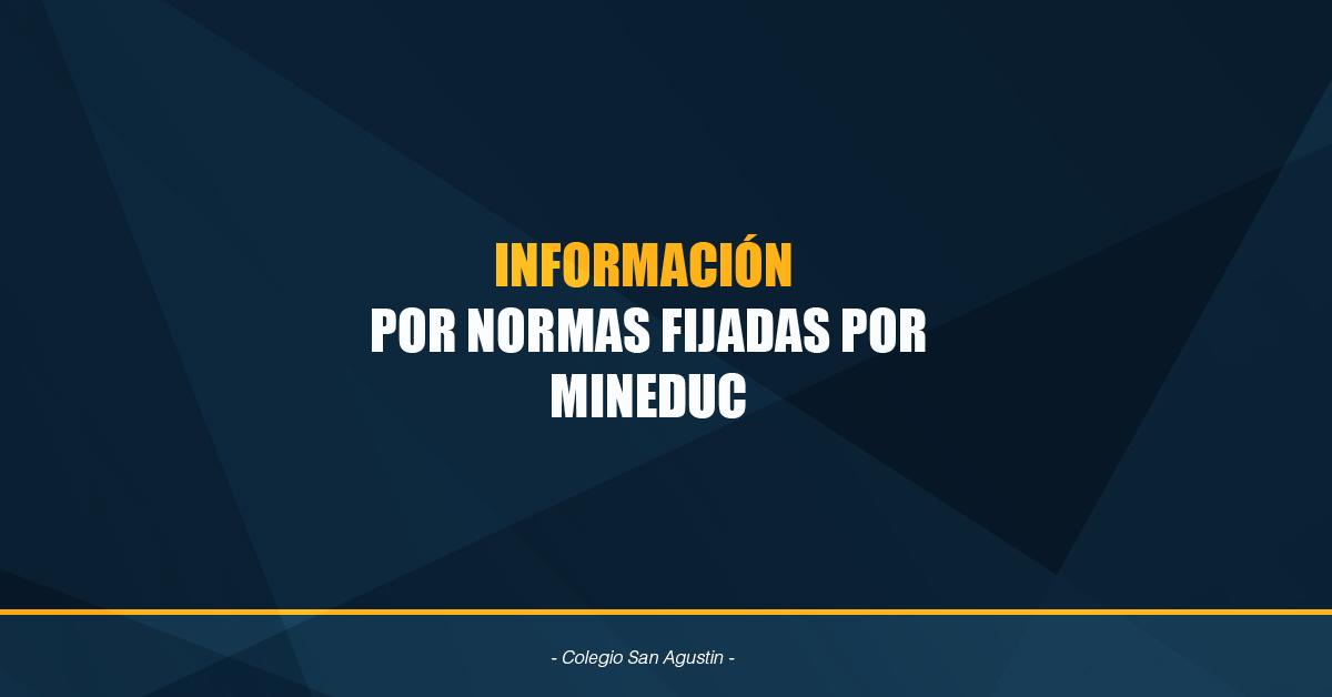 INFORMACIÓN  POR NORMAS FIJADAS POR MINEDUC